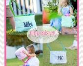 Monogrammed Personalized Seersucker Easter Buckets