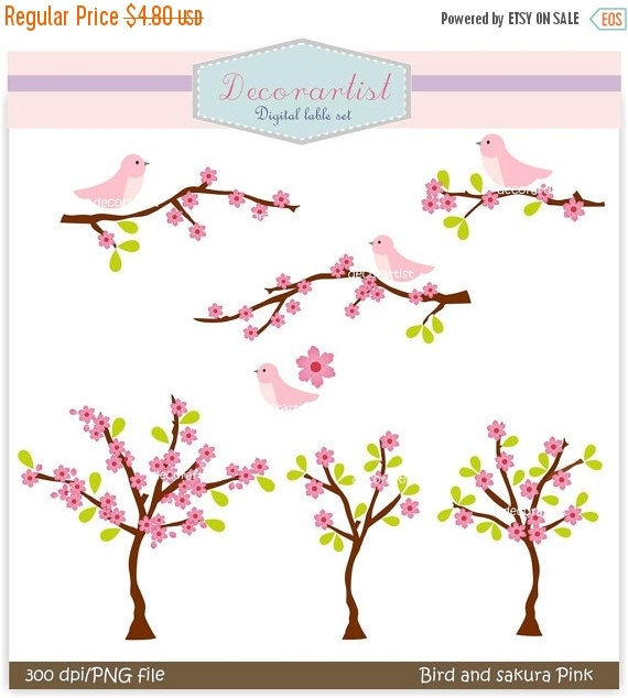 ON SALE flowers clipart, bird clipart , instant download clipart , pink , Digital clipart birds n sakura pink