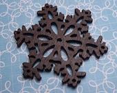 Wood Snowflake Dark Brown 38mm - 2pc