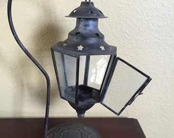 Vintage iron lantern and stand