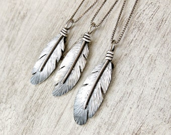 Sterling Silver Feather Necklace, Western Jewelry, Silver Feather Charm Pendant, Boho Necklace, Jewelry for women