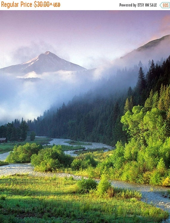 SALE - Ships Aug 27 - Mountain Photography, Landscape Photo Spring Photo Morning Wilderness Rockies Montana Wyoming nat29