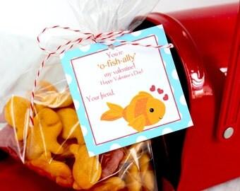 Fish Valentine, Goldfish Valentine, Printable Valentine, Valentine's Day,  Instant Download