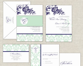 Wedding Invitation, Damask Wedding Invitation Suite, Mint and Navy, Navy Blue and Mint Green Wedding, Belly Band, Elegant Wedding Invitation
