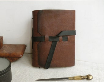 leather journal, notebook, diary in brown with vintage style old paper, brown cover, black strap - Fall