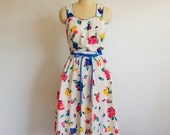 80s does 50s cotton FLORAL sundress size m/l