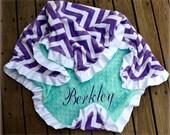 Chevron Minky Blanket,Purple Chevron,Zigzag,Saltwater Minky,Topaz,Personalized,Satin Ruffle,Baby Girl,Toddler,Crib,Stroller,Blanket