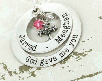 "Silver ""God gave me you"" Mother Necklace - Family necklace - Name Necklace - Birthstone Necklace -"