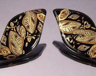 Unique Vintage Black Earrings with Gold and Copper Leaves / Pierced Earrings / Leaf Earrings / Fashion Earrings