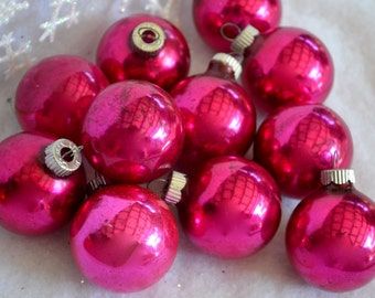 Mercury Glass Ornaments - Hot Pink Feather Tree - 11