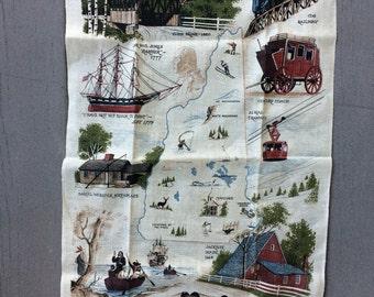 Vintage New Hampshire Souvenir Linen Towel