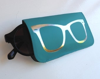 Turquoise and silver leather glasses case
