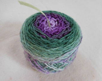 Ornamental Cabbage Gradient Sock Yarn -- Green and Purple-- Superwash Merino and Nylon Blend Fingering Weight