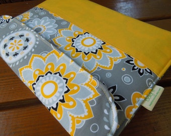iPad cover with magnetic snap - iPad case - iPad sleeve - Tablet protection pouch - Padded tablet pouch - Yellow and grey floral