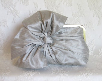 Silk Bow Clutch Grey Mist,Bridal Accessories,Bridal Clutch, Bridesmaid Clutch, Clutch Purse, Formal