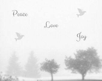 Peace Love Joy Photo Greeting Card, 4x5 christmas cards, blank inside, merry christmas, festive holiday card winter seasonal tree greetings