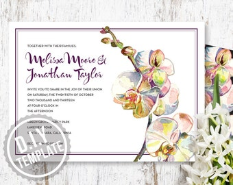 DIY Custom Wedding Invitation Suite with Response Postcard and Insert Card - Art Deco Orchid Customized Printable PDF