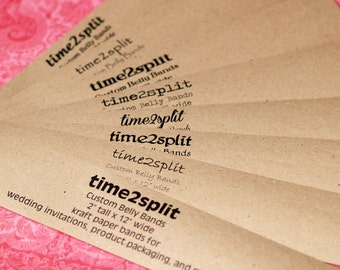 "Kraft Paper Wide Belly Bands (100) ... 2"" x 12"" Product Wrap Blank or Printed Invitations Seller Supplies Wedding Paper Ribbon Kraft Paper"