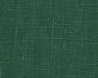 Solid color linen drapes, emerald green linen curtain panels, rod pocket panels
