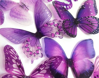 transparent purple butterfly - plum purple butterfly - adhesive butterfly - 3D plum butterfly - wall butterfly - Uniqdots on Etsy CODEA1