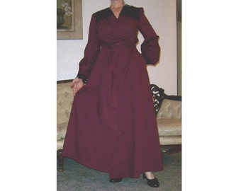 Dress in Burgundy Wine Red Unique Hand Made 1950's Vintage Style formal wrap OOAK Lace Accent  Wedding Costume retro Size M L