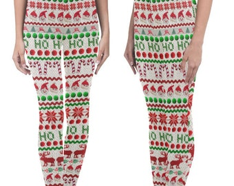 Ugly Christmas Sweater Leggings - photographic funny yoga pants - ankle length printed leggings