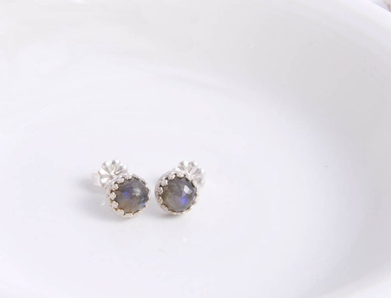 Sterling Silver Labradorite Post Earrings,  Silver Handmade Studs, Bezel Set Earrings Under 50