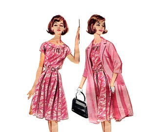 1960s Dress and Coat Pattern Blouson Pleat Skirt Short Sleeve Dress Flared Tent Clutch Coat Butterick 2184 Bust 34 Vintage Sewing Pattern