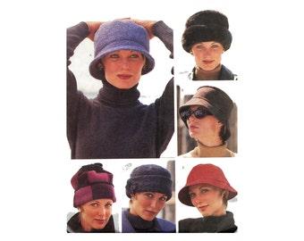 1990s Womens Hats Pattern Pillbox Slouch Beret Turban Newsboy Crusher Deerstalker Cap Kufi Hat Wardrobe Accessories McCalls 6661 Vintage