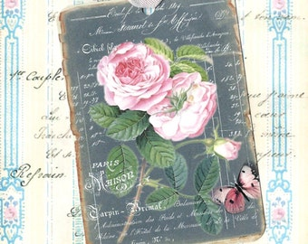 Tags, Chalkboard Tags, Roses, French Style, Gift Tags, Party Favors