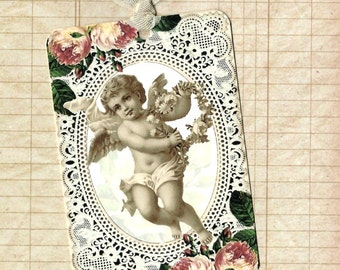 Tags, Cherub &  Roses, Vintage Style, Gift Tags, Party Favors