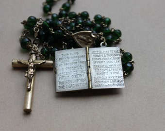 Antique Emerald Glass Rosary with Pearls of Prayer Book Charm