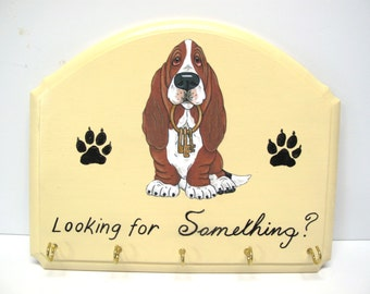 """Made to Order Decopague Print from Original Art by Renee Bane - Basset Hound Sign Accessory/Key Holder  - """"Looking for Something?"""""""