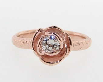 Stacking Solitaire Rose, Diamond & Rose Gold