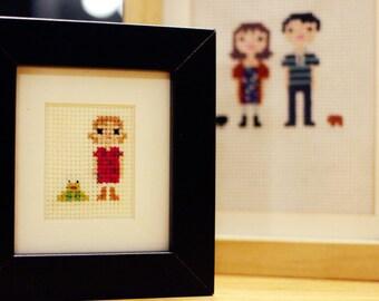 Mini Child / Individual Custom Portrait in Pixel Cross Stitch (Framed)