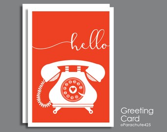 Hello Card, Greeting Card, across the miles, miss you card, thinking of you, friendship card, long distance, note card, bonjour, telephone