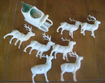 6 White Reindeer and Santa's Sleigh Plastic Vintage Christmas Decorations