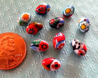Lot of 10 Vintage Venetian Millefiori Glass Beads Oval 9 x 6mm
