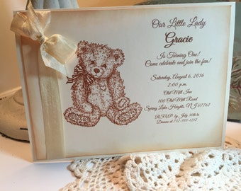 Teddy Bear Party Invitation, Baby Shower Baby Girl Vintage Style, Baby Shower Invitation Teddy Bear Party Invitation Set of 10