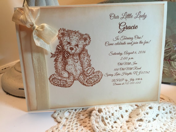 baby shower baby girl vintage style baby shower invitation teddy bear