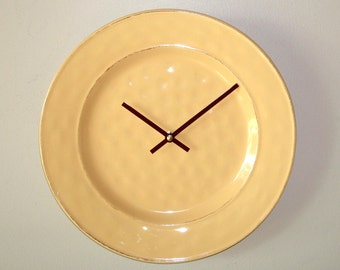 SILENT Mango Wall Clock, 11 Inch Farmhouse Pottery Wall Clock, Kitchen Wall Clock, Plate Clock, Unique Wall Clock, Warm Yellow Clock - 2123