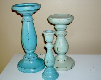 Chippy Paint Large Candle Holders in Agave and Celery, Shabby Chic Candle Holders, Rustic Candle Holder Set of Three - CH002