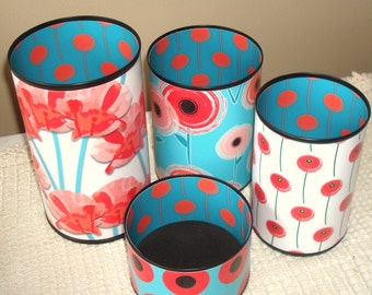 Coral Turquoise Teal Poppy Desk Accessories and Coaster / Pencil Holder / Pencil Cup / Desk Organizer / Office Decor / Dorm Decor - 917