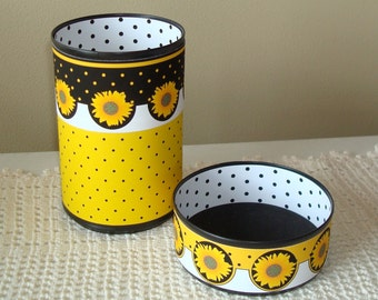 Sunflower Desk Accessories / Pencil Holder / Pencil Cup / Office Desk Organizer / Yellow and Black Sunflower Office Decor - 732