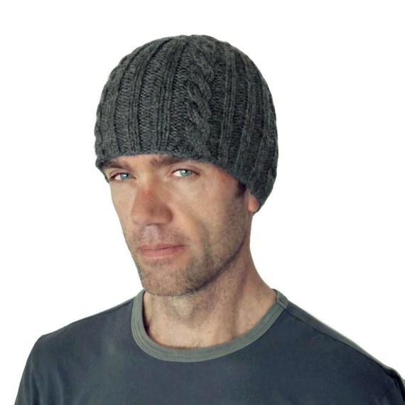 Mens Beanie Mens Hat Mens Cable Beanie Mens Gray Beanie Beanies For Men Boyfriend Hat Brandon Hand Knit Peruvian Wool Cap M/L L/XL