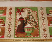 Sewing Panel Christmas Banner Fabric craft show Bazaar Supply Wall Hanging Cheater Quilt Holiday Hot Drinks Appliques Kitchen Decor Holiday