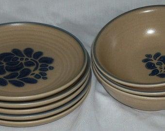 Pfaltzgraff Folk Art Bread / Dessert Plates and Soup Cereal Bowls USA