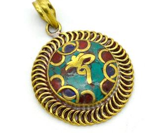 Buddha Eyes Brass Pendant, 1pc, 34x34x5mm, Turquoise Stone, Buddhist Tibetan Pendant -P262
