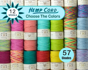 12 Spools Hemp Twine 1mm,  Hemp Cord, Colored Twine, Hemptique, Jewelry Cord, Macrame,  Choose The Colors