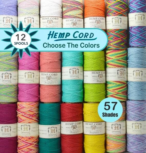 12 Spools Hemp Twine 1mm,  Hemp Cord, Colored Twine, Hemptique, Jewelry Cord, Macrame,  Choose The Colors
